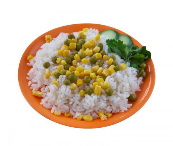 Рис с кукурузой и зеленым горошком с фото пошагово в
